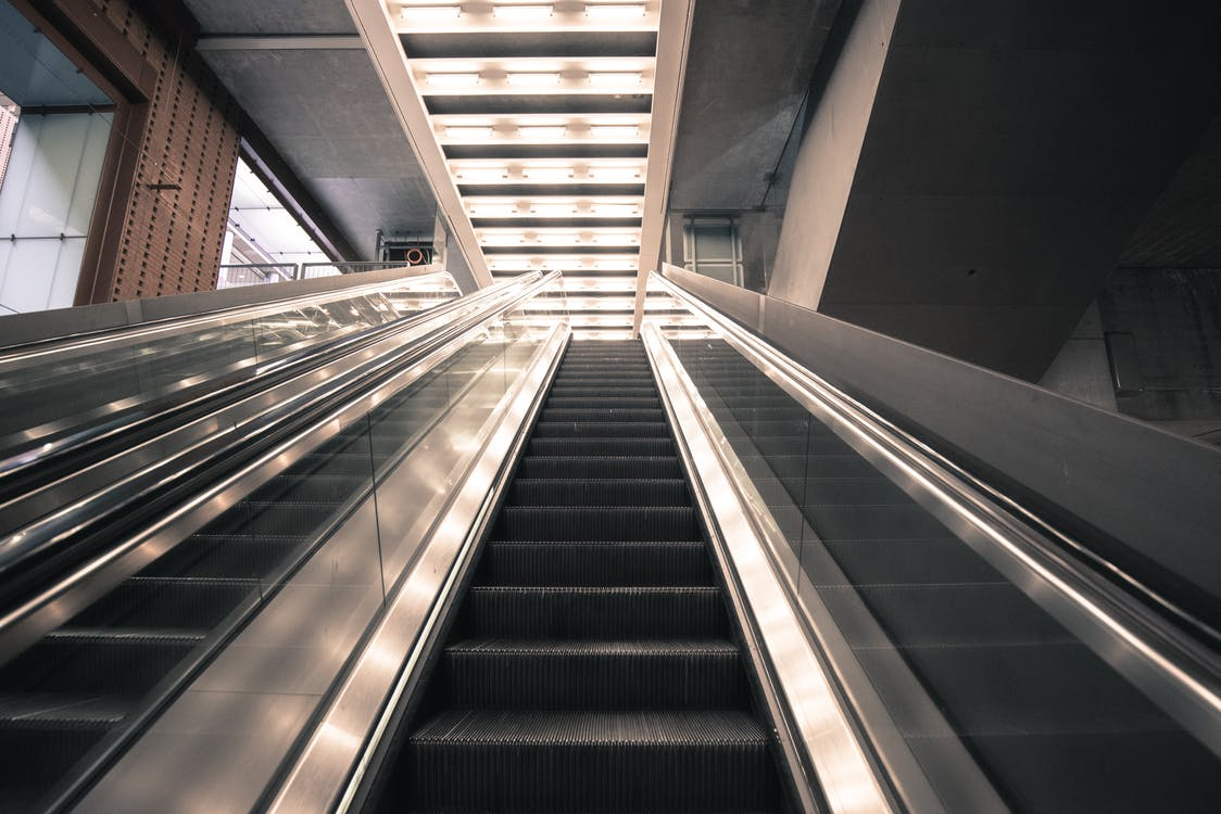 Gray and Black Escalator