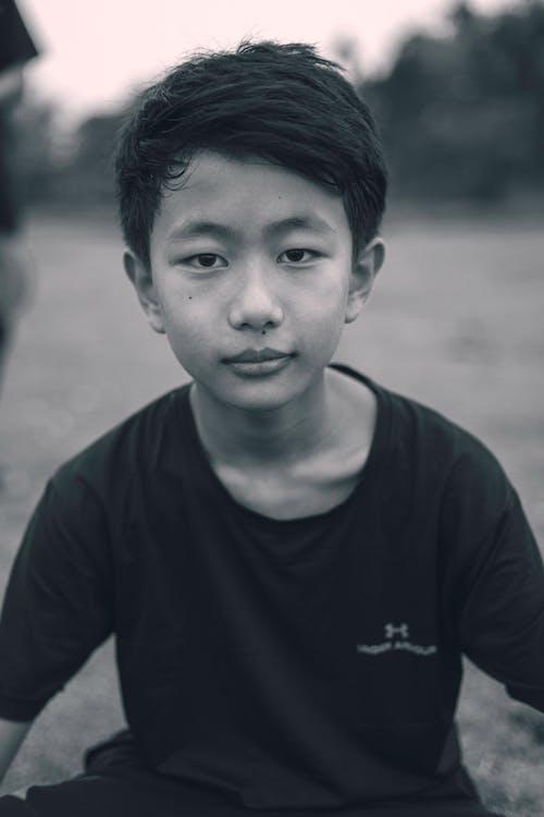 Free stock photo of asian boy, black and white