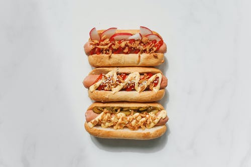 Hotdog Sandwiches on White Background