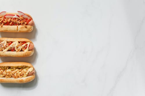 Hotdog Sandwiches on White Background