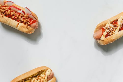 Photo of Hotdog Sandwiches on White Background