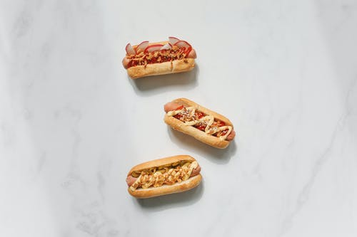 Photo of Hotdog Sandwiches on White Background