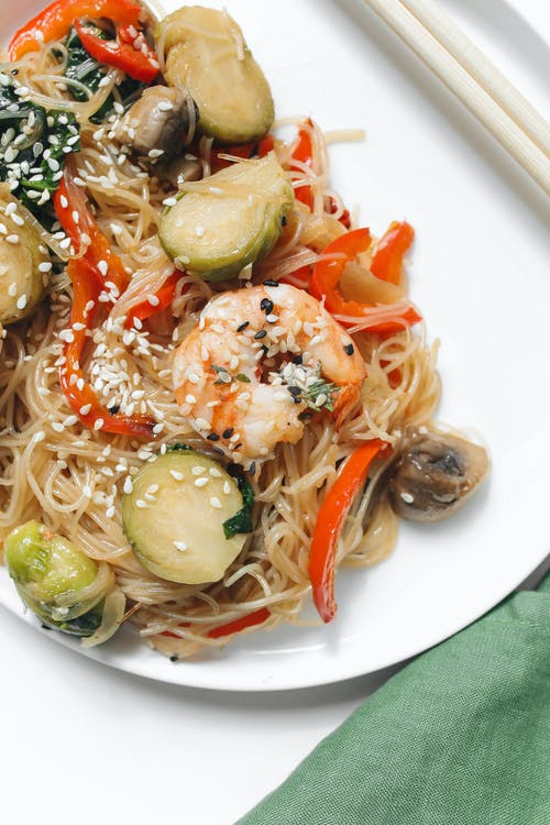 Photo of Noodle Dish With Shrimp on White Ceramic Plate