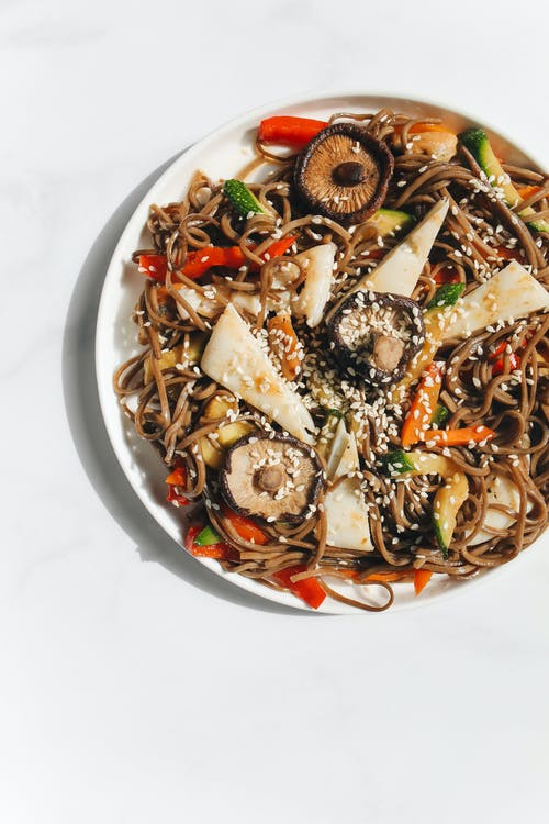Photo of Noodle Dish on White Ceramic Plate