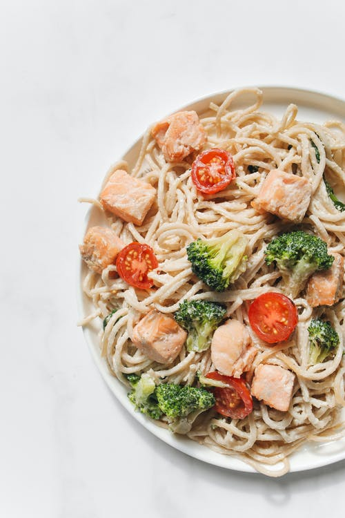 Pasta With Vegetables on White Ceramic Plate