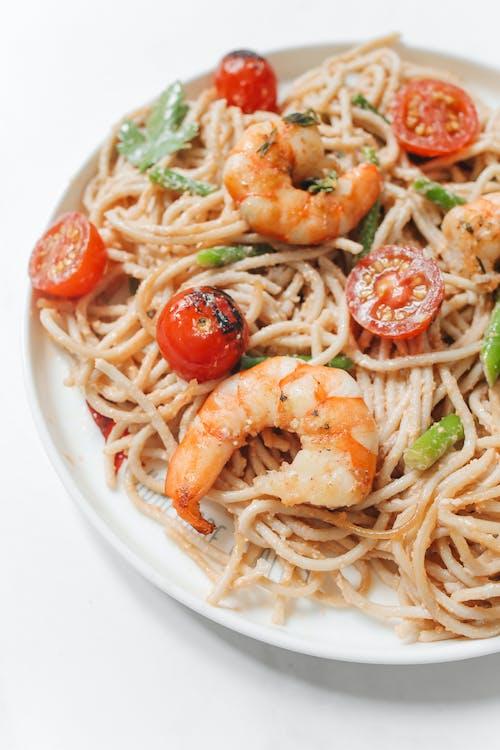 Pasta With Shrimp on White Ceramic Plate
