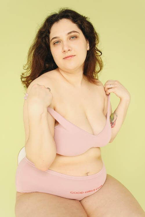 Woman in Pink Brassiere and Panty