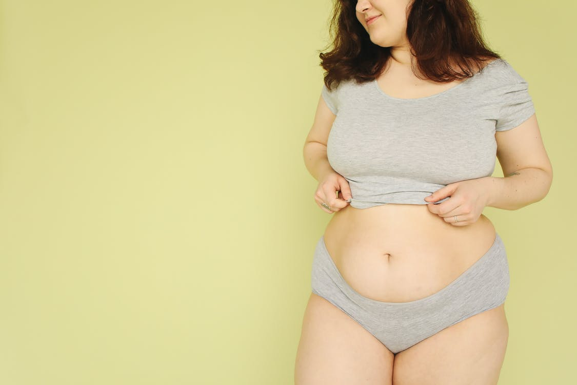 Woman in Gray Crop Top and Gray Panty