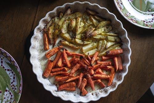 Plate with fried potato and carrot
