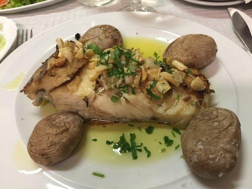 Free stock photo of ajo, comida caliente, patatas, pescado