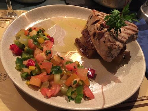 Free stock photo of carne de atun, comida, plato, verduras