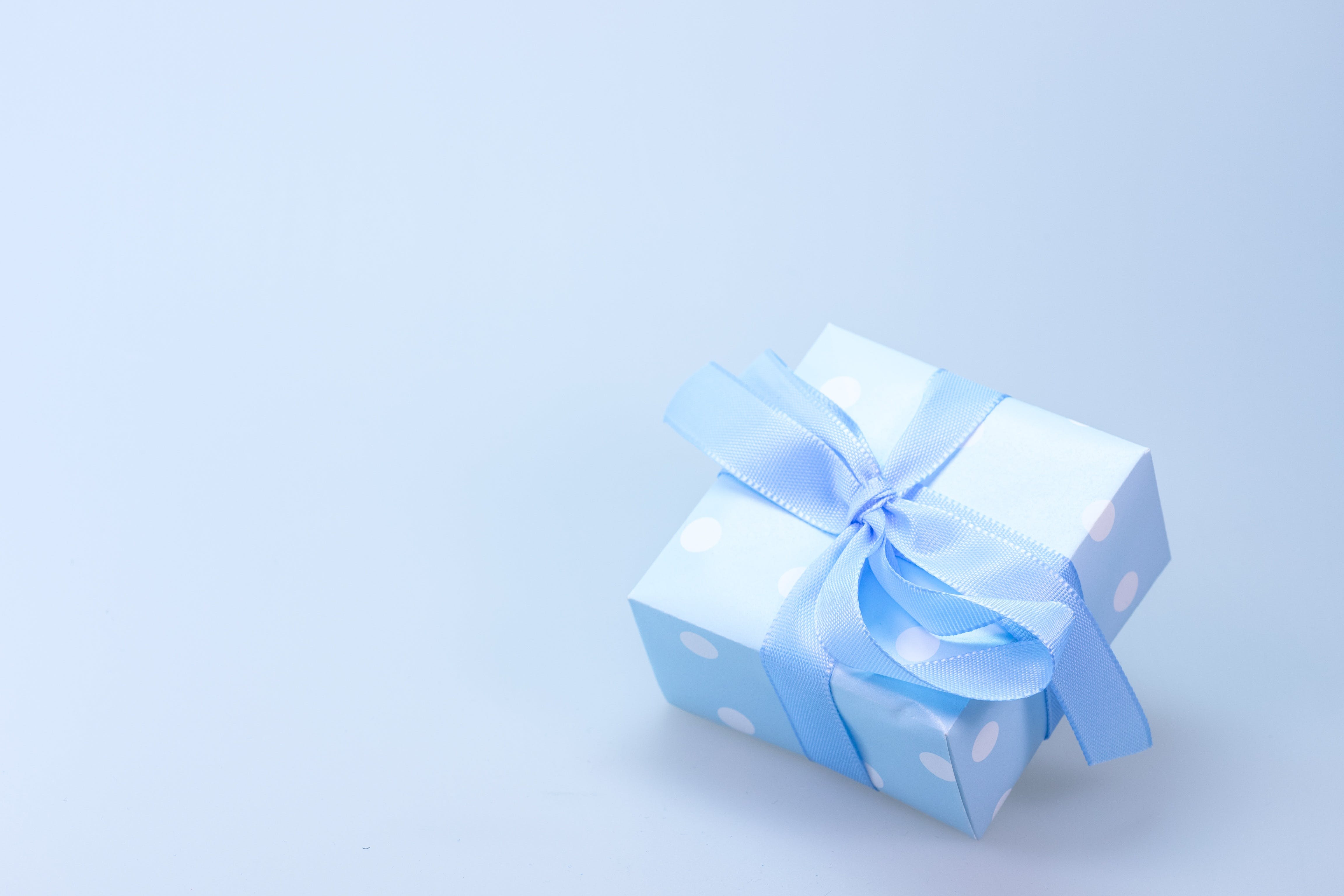 Blue and White Polka Dot Gift Box With Blue Ribbon