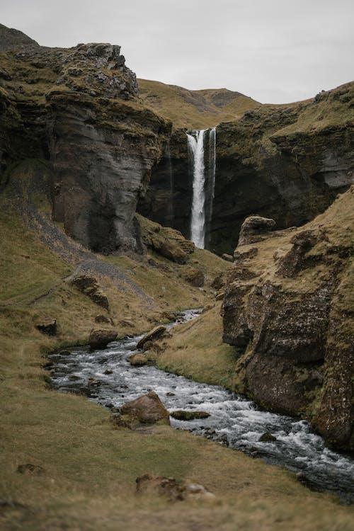 Landscape near hidden Kvernufoss waterfall in Iceland