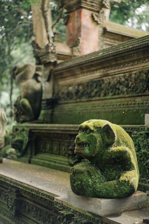 Old mossy monkey statue in tropical garden