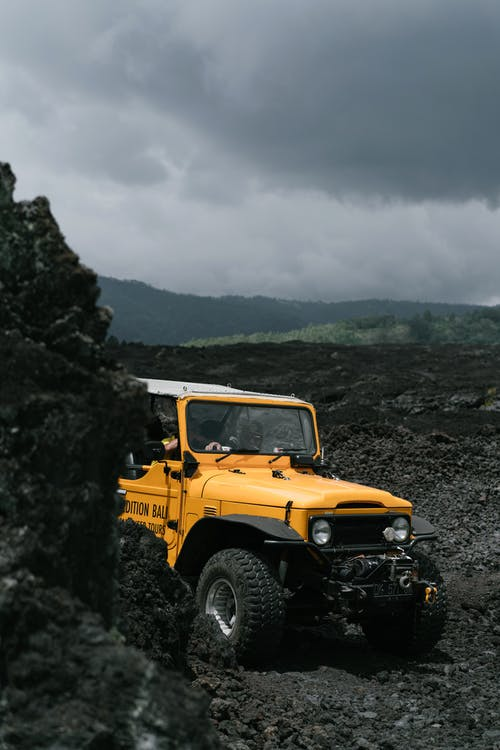 Yellow Jeep Wrangler on Rocky Mountain