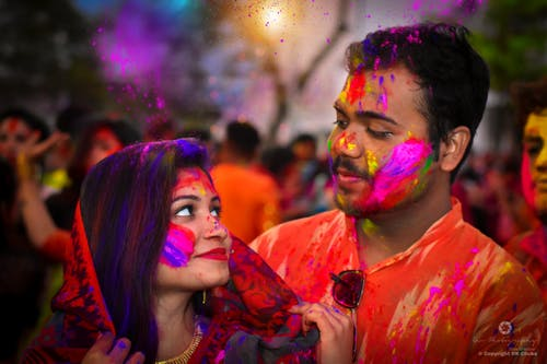 Free stock photo of asian couple, couple in love, holi