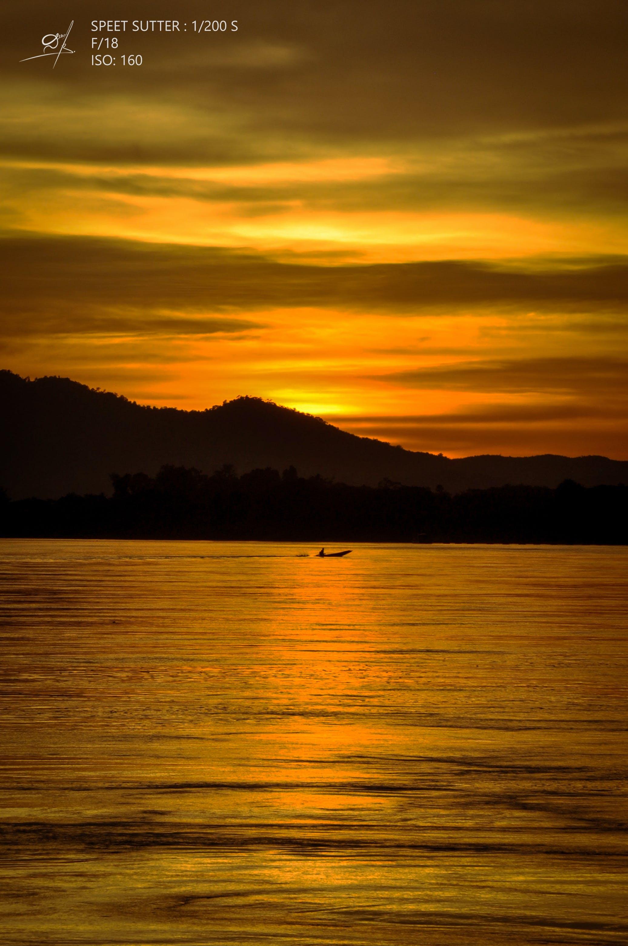 Free stock photo of golden sun, laos