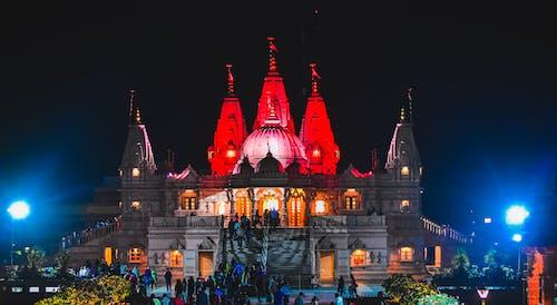 Free stock photo of at night, Hindu temple, light blue