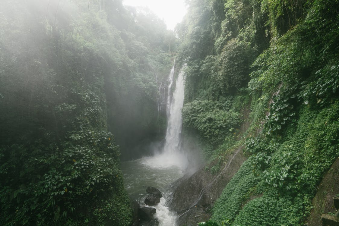 Wonderful Aling Aling Waterfall among lush greenery of Sambangan mountainous area on Bali Island