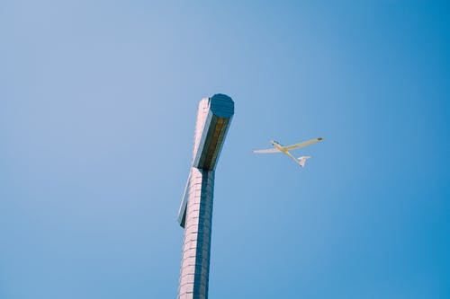 White and Blue Plane Flying in the Sky