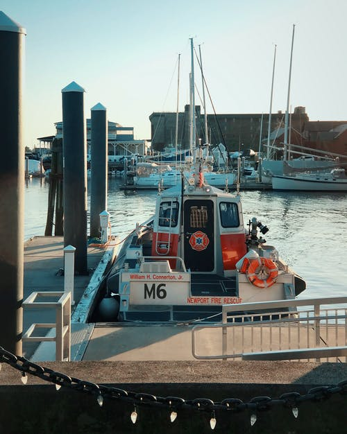 Free stock photo of boat, coastal, dock, fire rescue