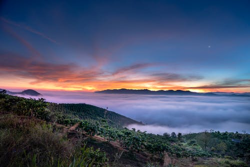Amazing scenery of mountainous valley with green trees hidden in clouds against sunset sky