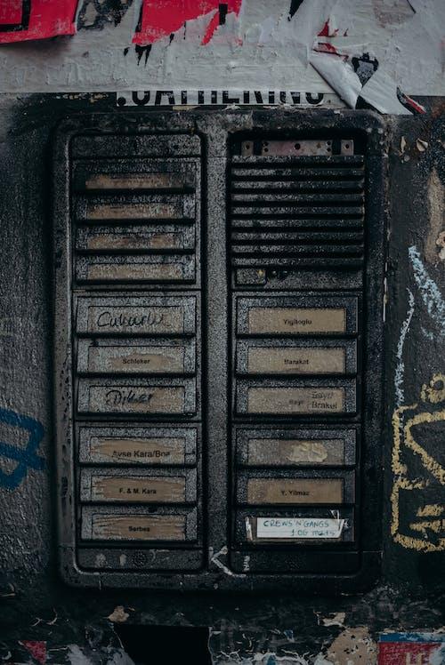 Black and Blue Metal Door