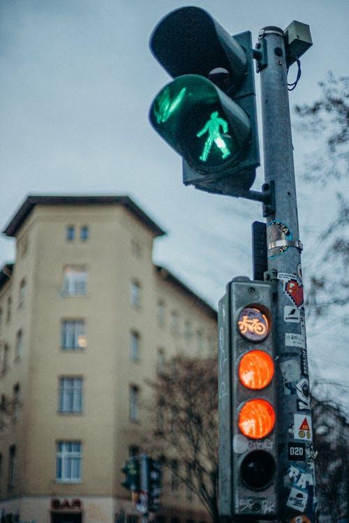Black Traffic Light With Green Light