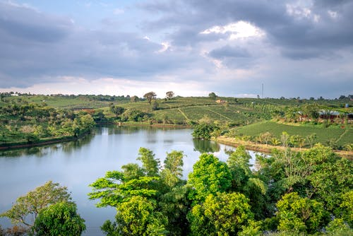 Picturesque scenery of peaceful pond located in green terrain with lush trees and agricultural fields against cloudy sky