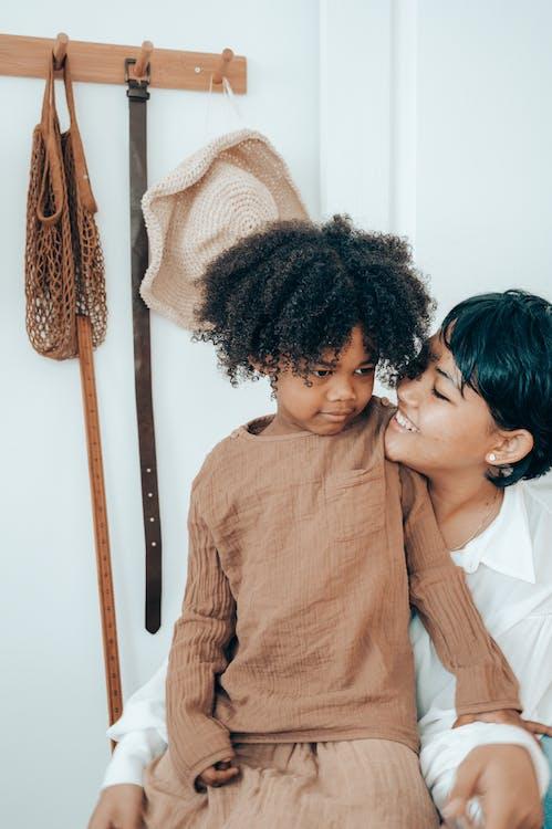 afrikansk-amerikansk kvinne, barn, elskelig