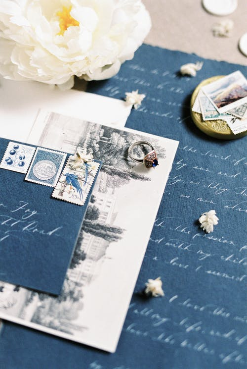White Printer Paper With Postage Stamp