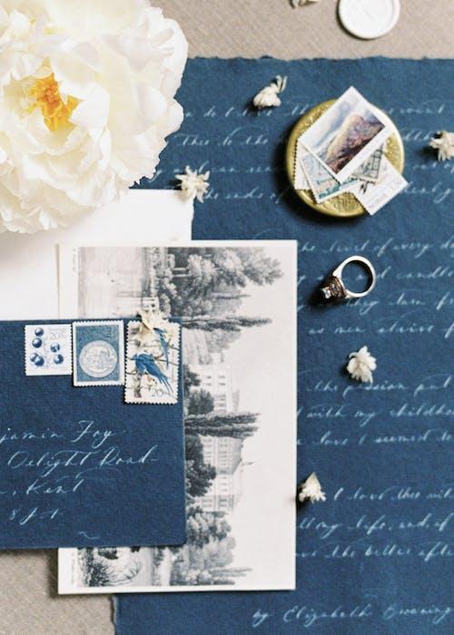 White Rose on Blue Textile