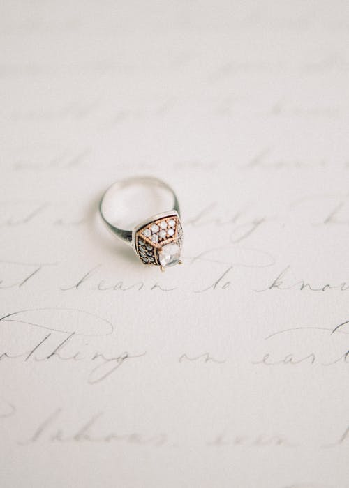 Gold and Diamond Ring on White Printer Paper