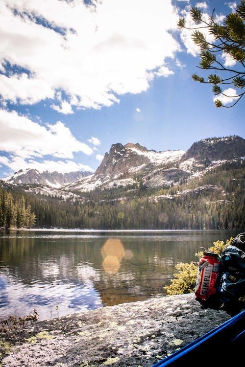 Free stock photo of lens flare, mountain, mountain lake, simple