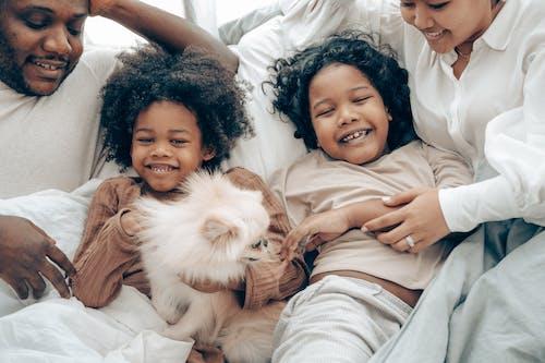 Kostenloses Stock Foto zu afroamerikaner, asiatisch, bett, bezaubernd