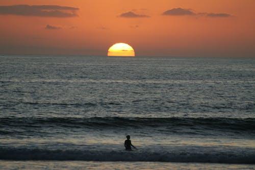 Free stock photo of sunset surfer