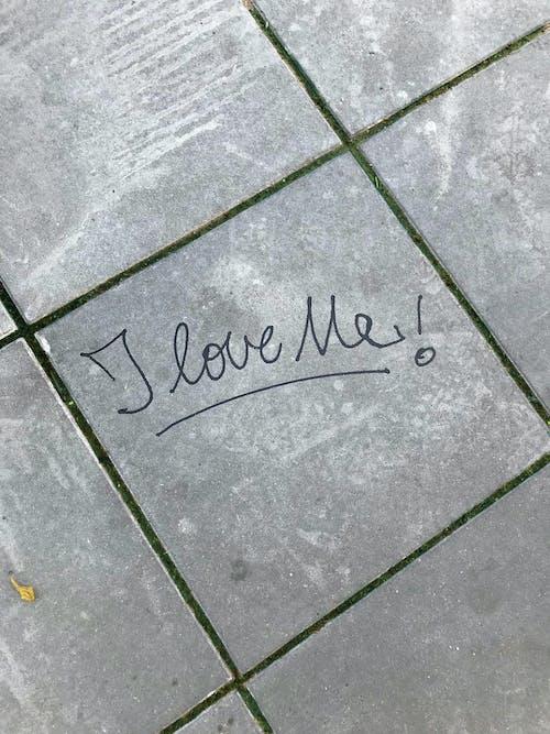 I love me words on concrete floor