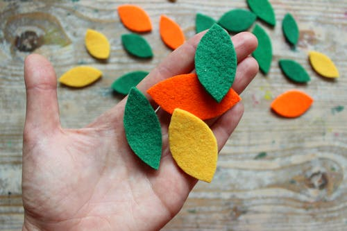 Green Yellow and Red Heart Shaped Decors