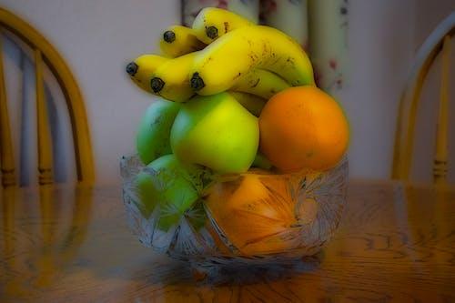 Foto profissional grátis de banana, bowl de frutas, bowl de vidro, laranja
