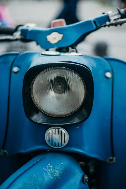 Blue and Silver Car Light