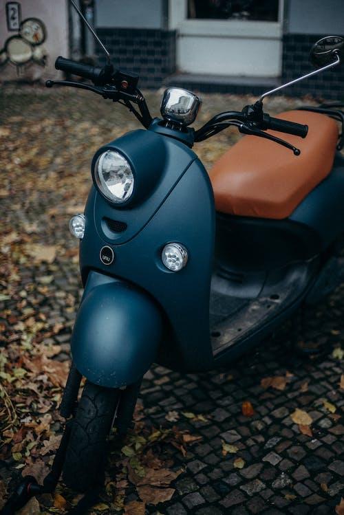 Orange and Black Motorcycle on Brown Leaves