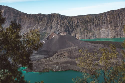 Majestic lake and volcanic mountain in Lombok Island of Indonesia