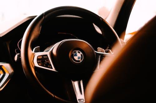Black wheel of expensive automobile