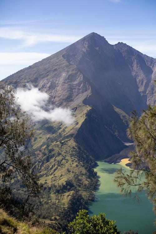 Amazing mountain range near green lake