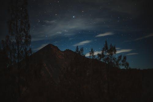 Mountain ridge against starry night sky