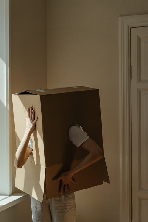 Person in White T-shirt in Brown Cardboard Box