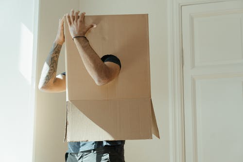 Person in White Long Sleeve Shirt Holding Brown Cardboard Box