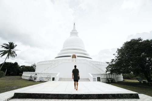 Unrecognizable man walking towards Japanese Peace Pagoda