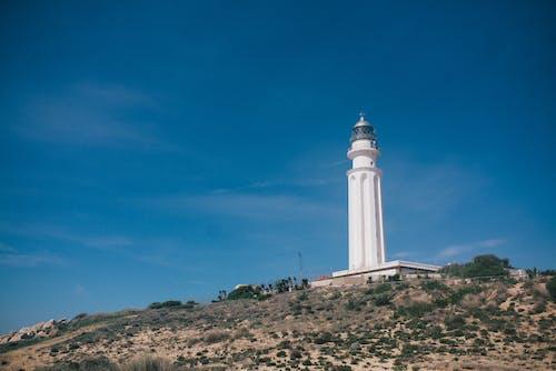Biała Betonowa Wieża Pod Błękitnym Niebem