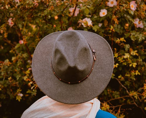 Person in stylish hat admiring blooming trees